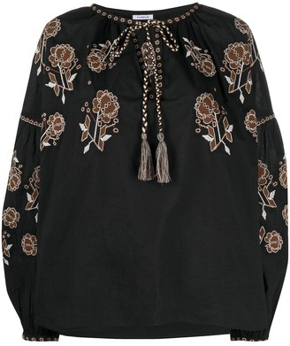P.A.R.O.S.H. Floral-Embroidered Peasant Blouse