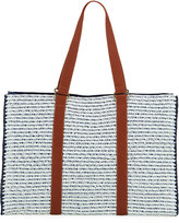 San Diego Hat Company Paper-Braid Tote Bag w/ Crochet Sides, Blue