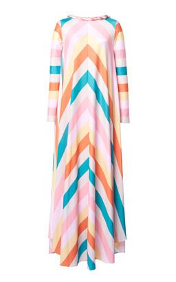 Leal Daccarett Gloria Striped Crepe De Chine Dress