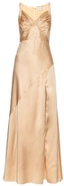 Saint Laurent Ruched-drape silk-satin gown