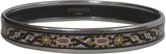 One Kings Lane Vintage Hermes Enameled Bangle Bracelet with Pouch - The Emporium Ltd. - silver/black/gold/gray/white/copper