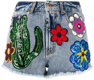 Filles a papa Martinique multi-patch denim shorts