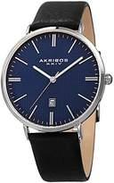 Akribos XXIV Men's Silver-Tone Case with Textured Blue Dial on Black Genuine Leather Strap Watch AK935SSBU