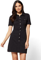 New York & Co. Cotton Shirtdress - Solid - Petite