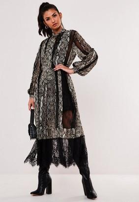 Missguided Gray Snake Print Chiffon Lace Trim Midaxi Dress