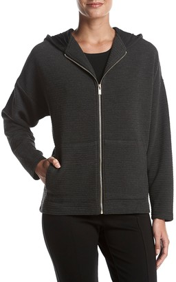 Jones New York Women's Drop Shoulder Wedge Zip Front Hoodie