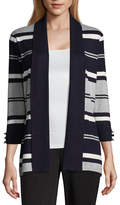 Liz Claiborne 3/4 Sleeve Open Front Striped Cardigan