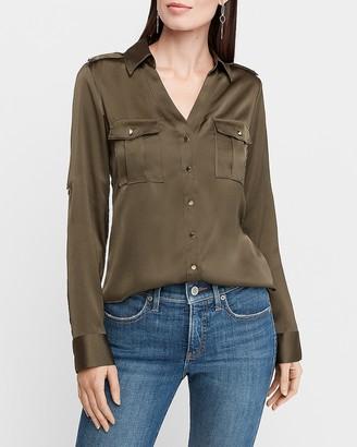 Express Slim Fit Satin Military Portofino Shirt