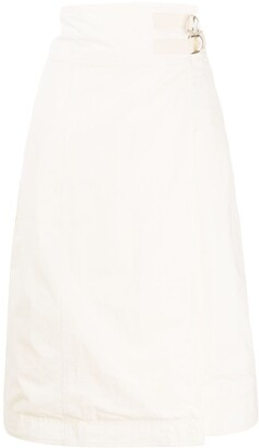 Jil Sander Side Buckle Poplin Skirt