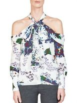 Erdem Aila Printed Silk Cold-Shoulder Blouse