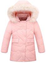 SS&CC Girls' Winter Hooded Fur Long Down Coat Jacket