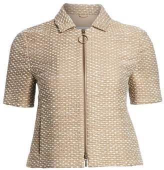 Akris Punto Tweed Wool-Blend Short Sleeve Zip Jacket
