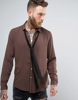 Asos Regular Fit Shirt In Brown Viscose With Piping Detail And Detachable Neck Scarf