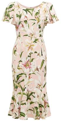 Dolce & Gabbana Lily-print Fluted Cady Dress - Womens - Pink Multi