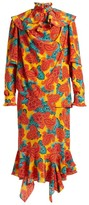J.W.Anderson Paisley-print Silk Midi Dress - Womens - Orange Multi