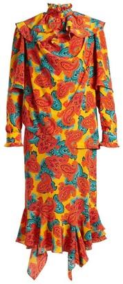 J.W.Anderson Paisley-print Silk Midi Dress - Womens - Orange Multi