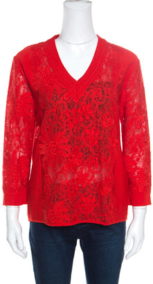Ermanno Scervino Red Lace Paneled V Neck Sweater M