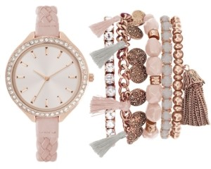 Jessica Carlyle Women's Blush Braided Faux Leather Strap Watch 40mm Gift Set