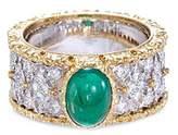Buccellati Diamond emerald 18k gold lattice ring