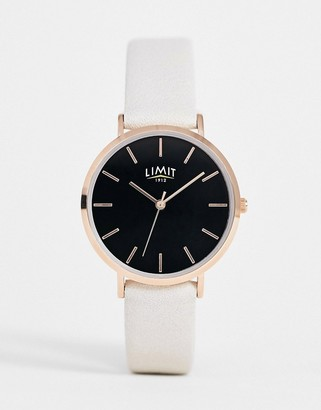 Limit faux leather watch in beige with black dial