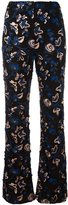 Self-Portrait embroidered flared trousers - women - Cotton/Polyester/Spandex/Elastane - 10