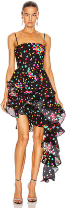 CARMEN MARCH Asymmetrical Ruffle Dress in Confetti   FWRD