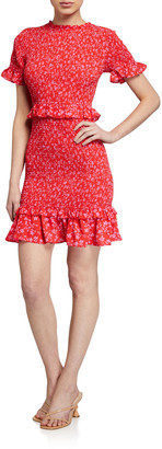 LIKELY Faye Smocked Ruffle Floral Dress