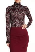 Loveappella Stretch Chevron Long Sleeve Turtleneck Top