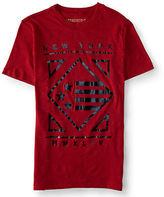 Aeropostale Mens New York Diamond Flag Graphic T Shirt Red