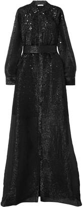 Oscar de la Renta Sequined Silk-lame Gown