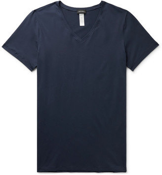 Hanro Superior Mercerised Stretch-Cotton T-Shirt - Men - Blue