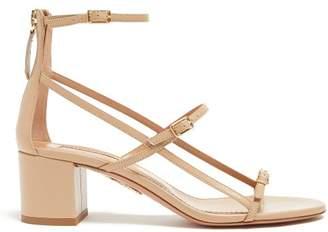 Aquazzura Super Model 50 Block-heel Leather Sandals - Womens - Nude
