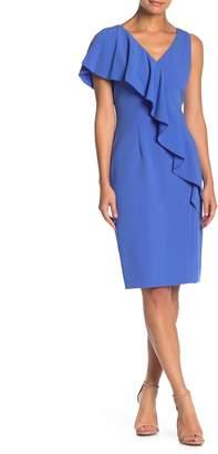 Elie Tahari Kailey Ruffled V-Neck Sheath Dress