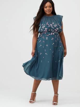 Little Mistress Curve Printed Midi Dress - Teal