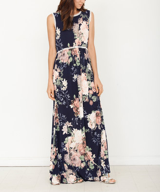 Egs By Eloges egs by eloges Women's Maxi Dresses Navy - Navy Floral Pom-Pom Maxi Dress - Women & Plus