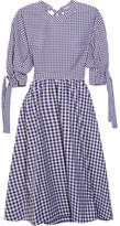 Rosetta Getty Open-back Gingham Cotton Dress - Navy