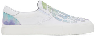 Amiri White Watercolor Skeleton Toe Slip-On Sneakers