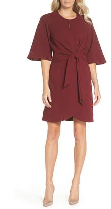 Tahari Tie Front Crepe Sheath Dress