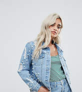 Glamorous Petite Allover Embellished Denim Jacket