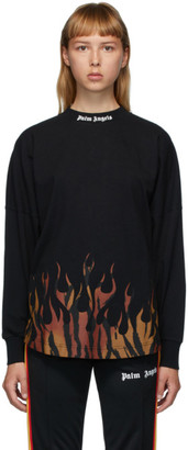 Palm Angels Black Flames Logo Long Sleeve T-Shirt