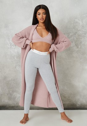 Missguided Lilac Co Ord Knit Maxi Batwing Cardigan