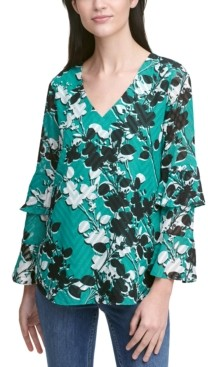 Calvin Klein Printed Clipped Dot Tiered-Sleeve Top