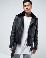 Avior Leather Biker Jacket With Shearling Collar
