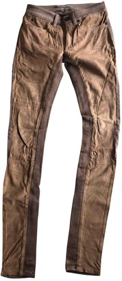 Superfine Camel Leather Trousers