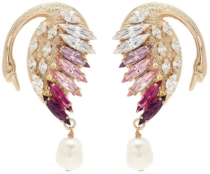 Anton Heunis 'NNL3.03' Swarovski crystal swan pearl drop earrings