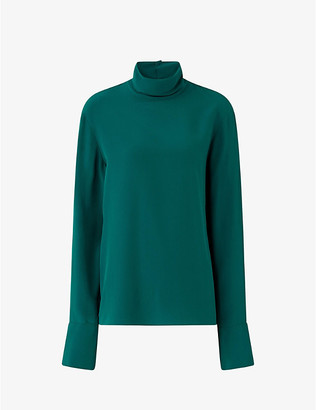 Joseph Biva high-neck silk crepe de chine blouse
