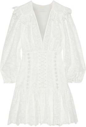Zimmermann Honour Button-detailed Broderie Anglaise Cotton Mini Dress