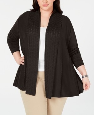 Karen Scott Plus Size Pointelle-Trim Cardigan Sweater, Created for Macy's