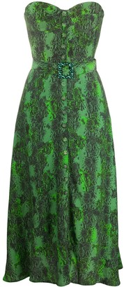 Rotate by Birger Christensen Strapless Snake-Print Dress