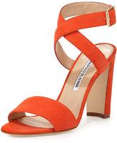 Manolo Blahnik Tondala Suede Ankle-Wrap Sandal, Orange